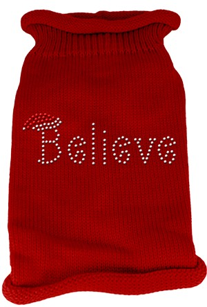 Believe Rhinestone Knit Pet Sweater SM Red
